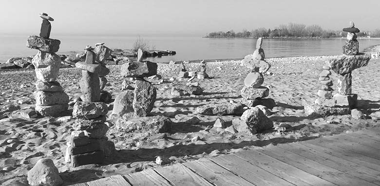 Rock stacks at the beach.