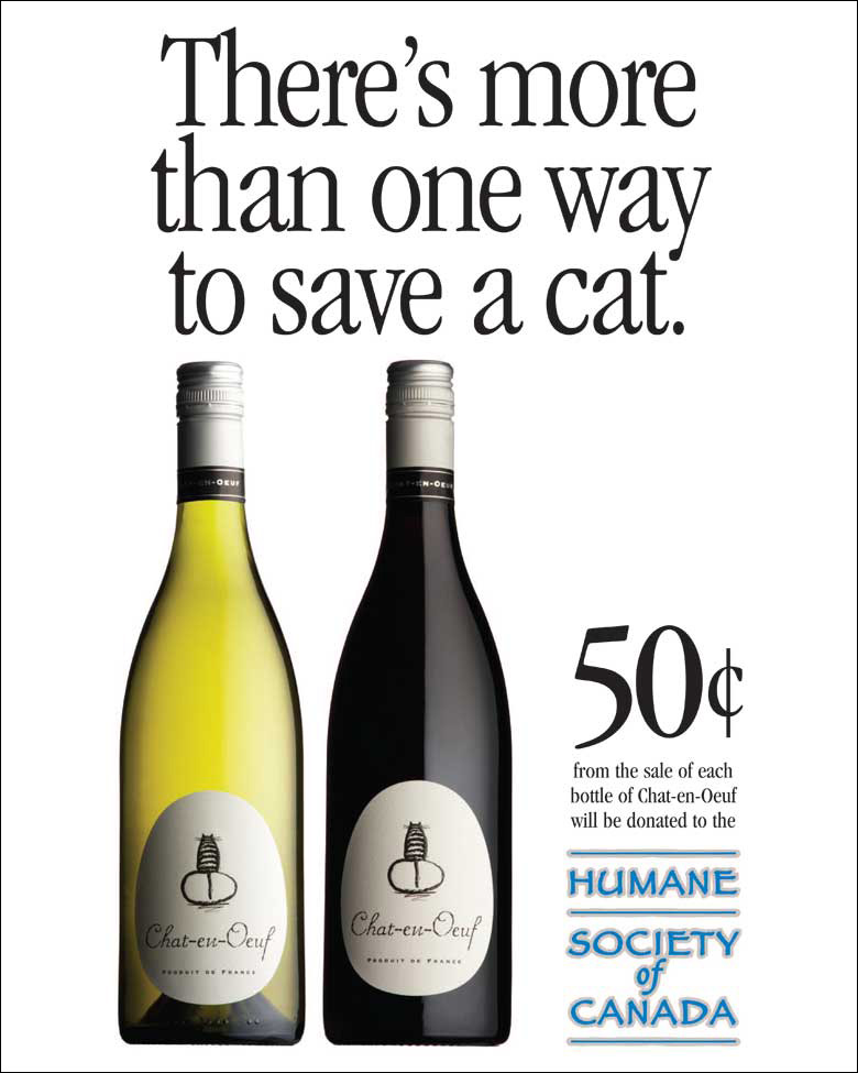 Chat-en-Oeuf wine cause ad